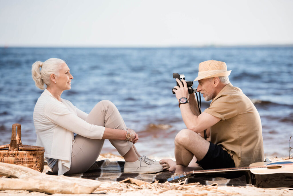 older couple on a date on the beach